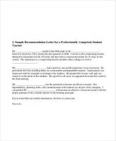 Recommendation Letter For A Elementary Student Sle Student Letter