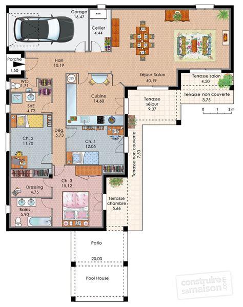 maison de plain pied avec trois chambres d 233 du plan