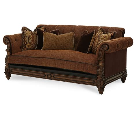 Leather And Fabric Sofa Sets Michael Amini Vizcaya Dusted Umber Finish Traditional Leather Fabric Sofa Set By Aico
