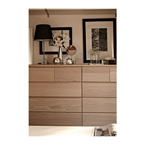malm chest of 6 drawers white stained oak veneer 80x123 cm