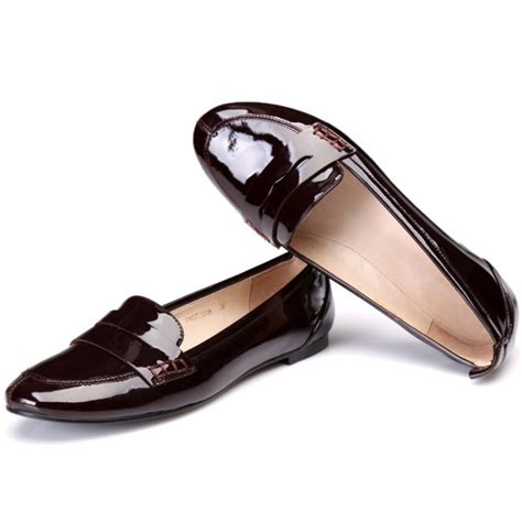 s burgundy oxfords patent leather slip on flat
