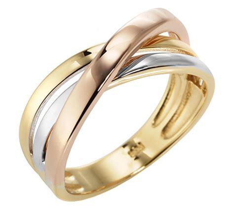 Gold Polieren Preis by Goldrausch Gold 585 Ring Tricolor Poliert Qvc De