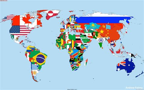 world map with countries flag the countries flags map