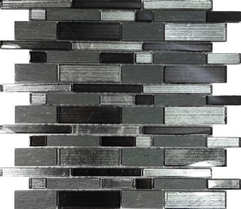 SAMPLE  Metallic Silver Black Glass Stone Mosaic Tile Wall