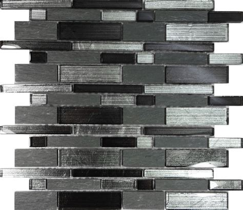 SAMPLE  Metallic Silver Black Glass Stone Mosaic Tile Wall