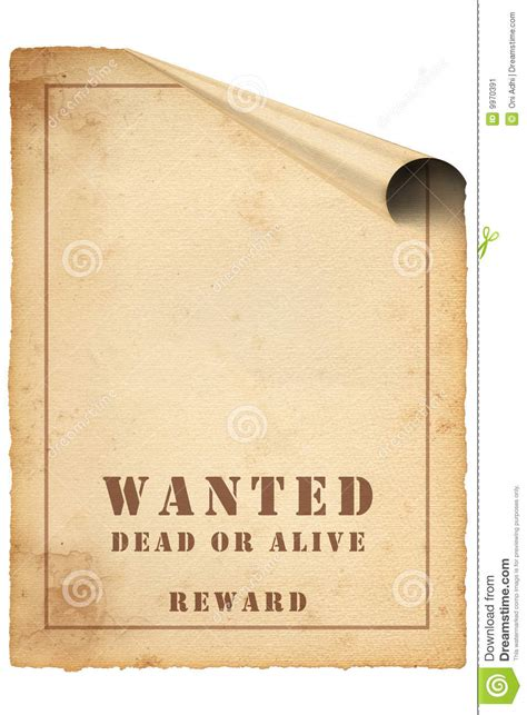curl wanted poster on paper stock image image 9970391