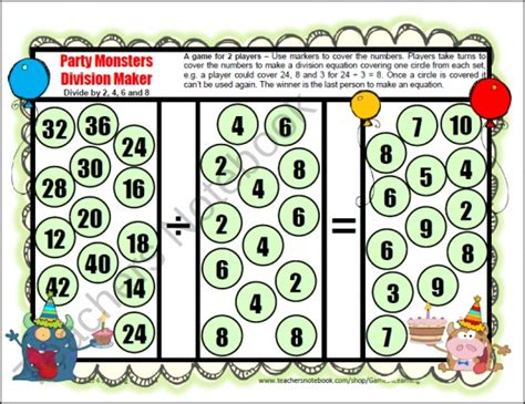 printable division games with remainders cute and fun division game to make them think includes 12