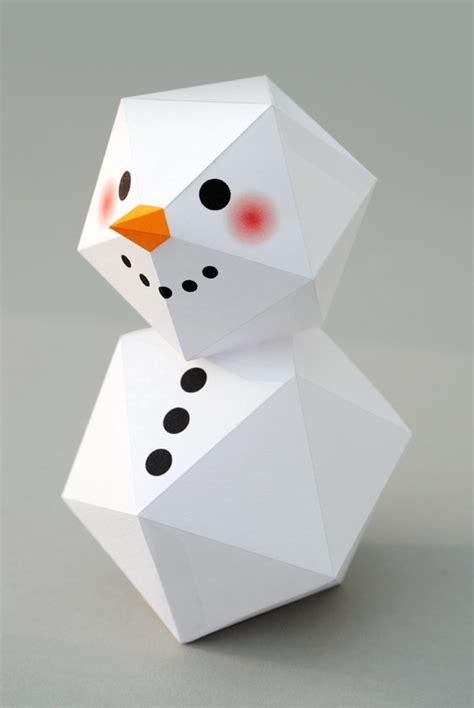 Origami Snowman - geometric snowman minieco