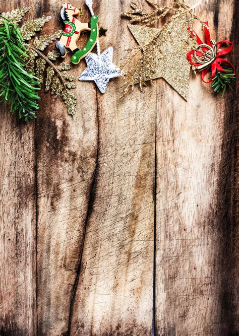 Christmas Decoration As Border With Copyspace On Wooden Old Bac Stock Image Image Of Closeup Vintage Family Frames Tree Stock Image Image 32018791