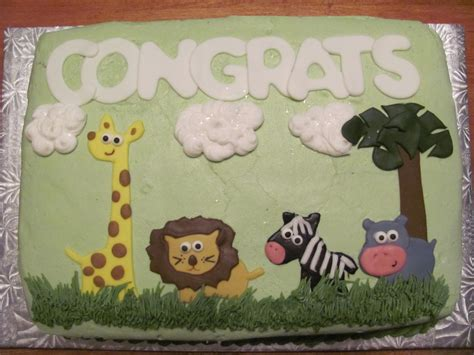 Zoo Animal Baby Shower by Zoo Animal Baby Shower Cake Cakecentral