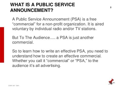 radio announcement template psa writing