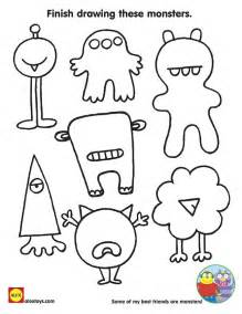 finish drawing these monsters free printable coloring