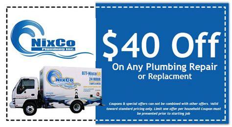 Done Plumbing Coupons by Nixco Plumbing Inc Plumbing Specials And Coupons Oh