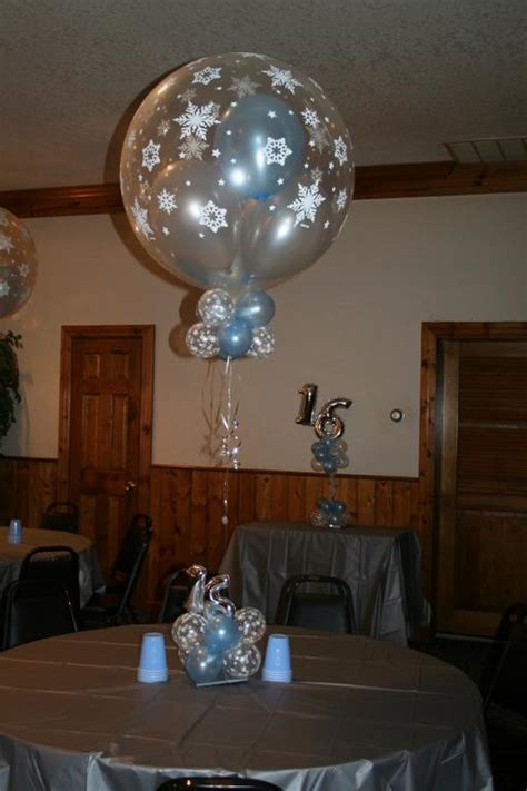 Sweet 16 Winter Wonderland By Elegant Balloons Llc Winter Centerpieces Sweet 16