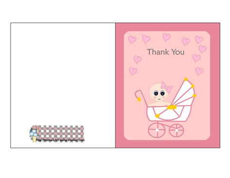 free thank you card templates baby shower free printable pink baby shower thank you cards
