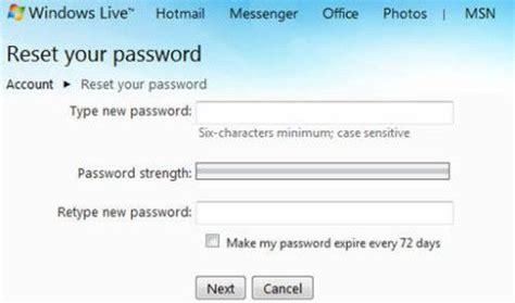 windows live reset password secret question forgot windows live id password how to reset