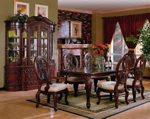 dark cherry finish traditional dining set w carved details