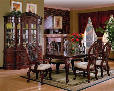 dark cherry finish traditional buffet wcarved details