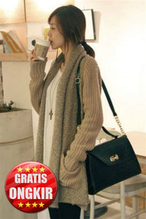 Cardigan Rajut Import cardigan rajut import wanita khaki knitted cardigan