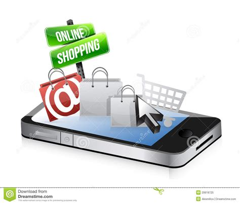 Smart Phone Smart Shopping by Smartphone Shopping Concept Stock Illustration