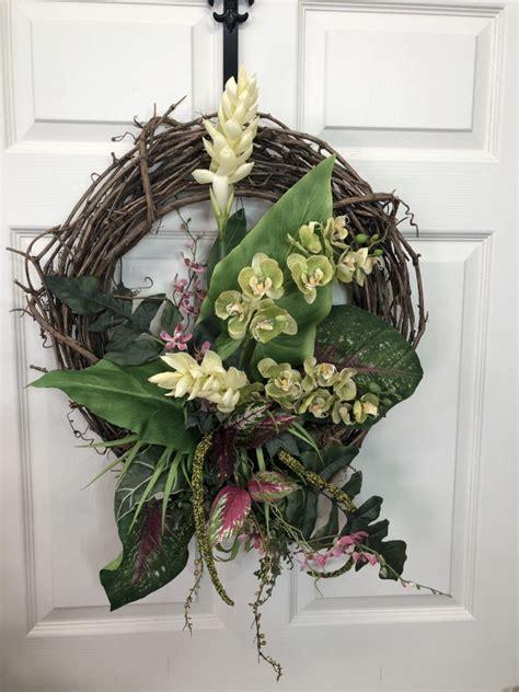 everyday wreath  front door orchid wreath summer