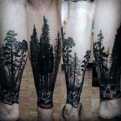 pinterest tattoo forest skull with trees forest tattoos for men on lower leg