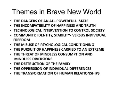 what are themes in brave new world themes in brave new world