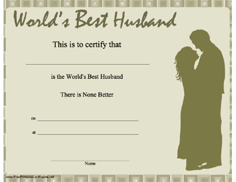 printable gift certificate for husband 7 best images of printable gift certificates for husband