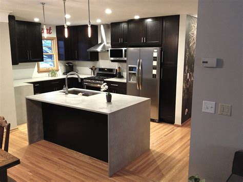 waterfall island counter modern kitchen cabinets in island with waterfall countertop