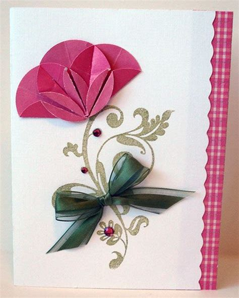 Handmade Cards With Ribbon - flourish flower folding paper crafts 3