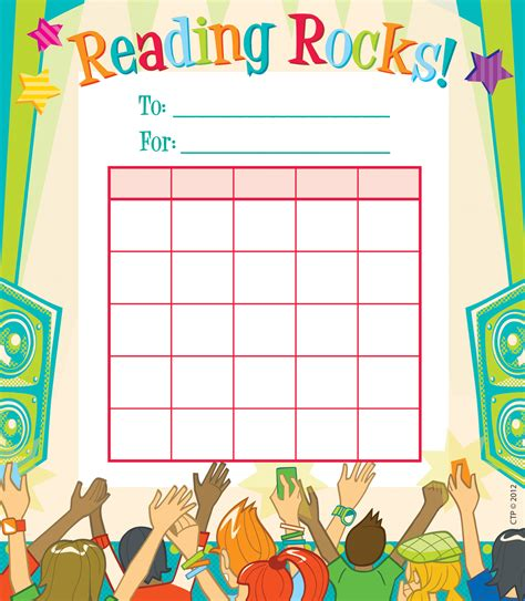 printable reward charts for reading reading rocks student incentive chart
