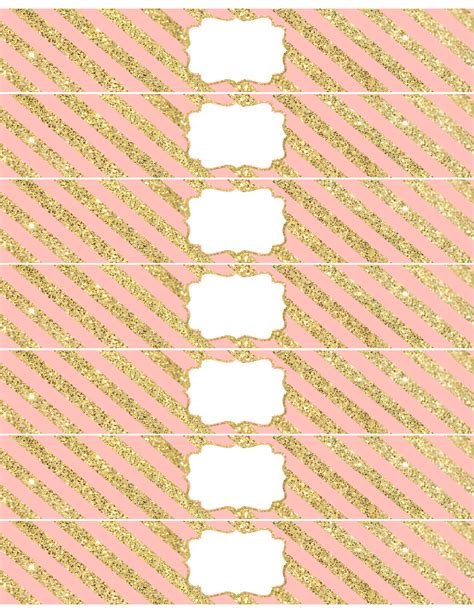 Pink And Gold Water Bottle Wrappers Free Printable Paper Trail Design Free Printable Water Bottle Template