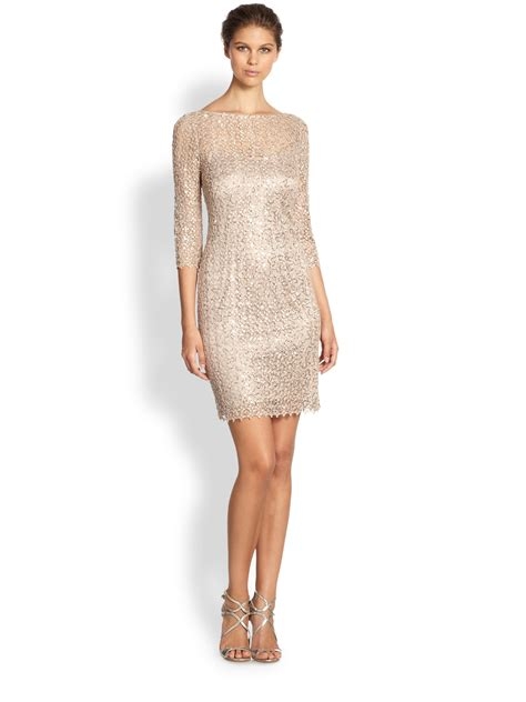 Wst 17230 Hem Sequined Dress unger sequined lace dress in metallic lyst