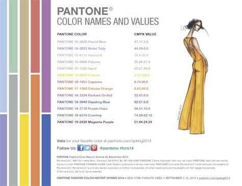 pantone color names pantone s spring 2014 palette color names and values