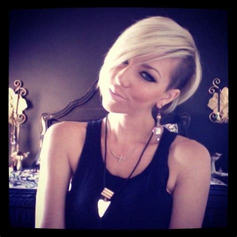 Blonde short hair with shaved side. Pixie. Whitney Nunes