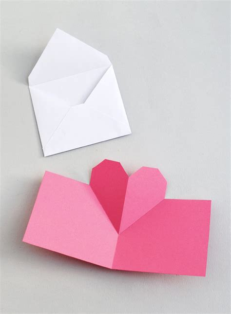 pop up heart card template diy and crafts