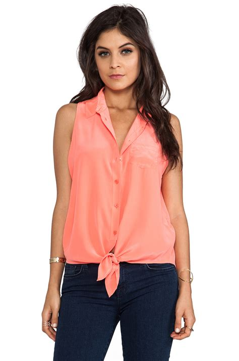 Atasan Blouse Orange Pocket lyst equipment mina sleeveless tie front blouse in orange