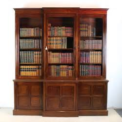 Victorian Mahogany Breakfront Library Bookcase Antiques Bookshelves Library
