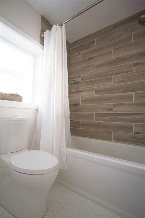 wood  shower wall tile transitional bathroom