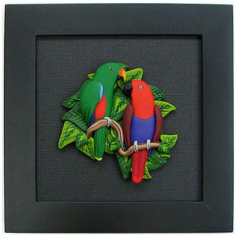 Clay Custom Frame 8r 2 parrot magnets handsculpted polymer clay bird