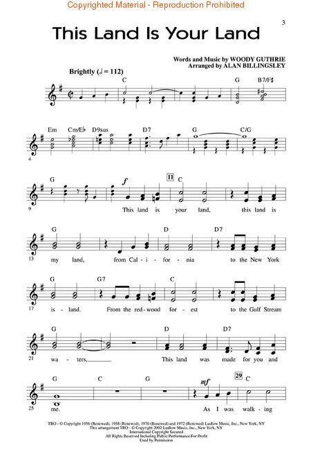 printable lyrics this land is your land buy woody guthrie sheet music tablature books scores