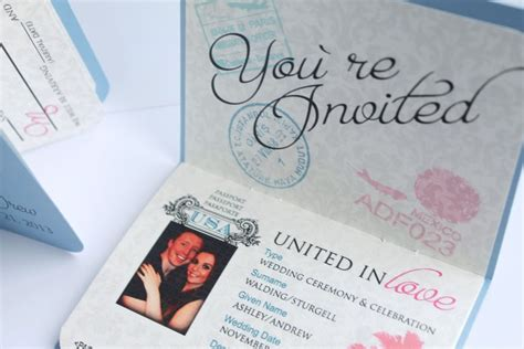 passport wedding invitations template free download