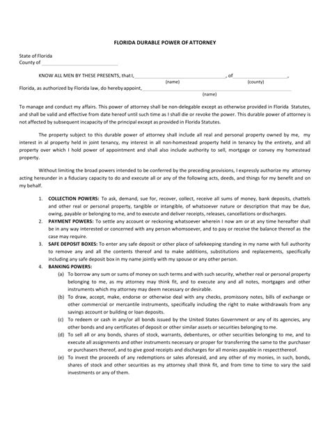 durable power of attorney form free florida durable power of attorney form word pdf