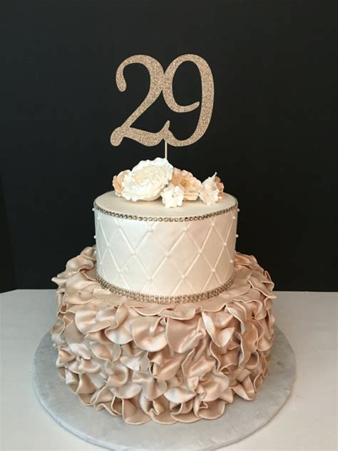 ANY NUMBER Gold Glitter 29th Birthday Cake Topper number