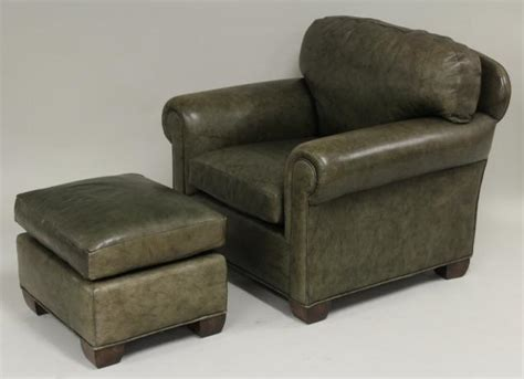 green leather chair and ottoman igavel auctions olive green leather club chair and