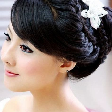Wedding Hairstyles Japanese by Asian Bridal Braid Updo With White Floral Hair Clip Png