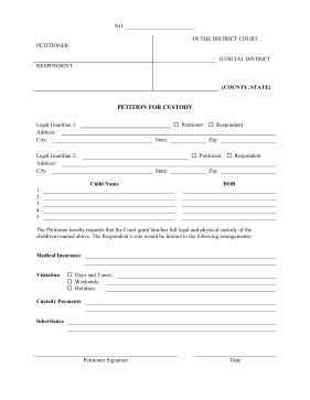 Printable Petition For Custody Pleading Template
