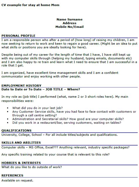 exle cv for gap year student cv exle for stay at home mom icover org uk