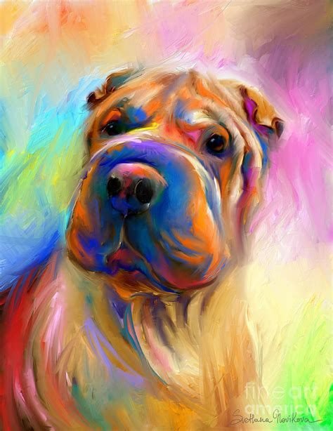 colorful dogs colorful shar pei portrait painting by svetlana novikova