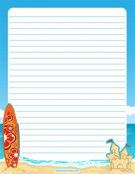 free printable stationery paper without lines printable beach stationery and writing paper multiple